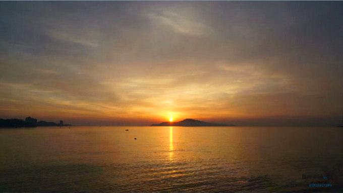 威海日落航拍